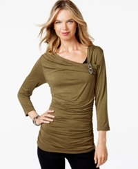 Miraclesuit Shaping Ruched Brooch Top Olive Green