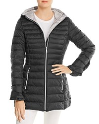 T Tahari Maya Ruffled Puffer Coat Black