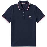 Moncler Tricolour Tipped Polo Blue