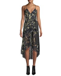 Diane Von Furstenberg Narrah Embroidered Floral Sleeveless Wrap Dress Black Pattern