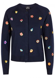 Paul Smith Navy Floral Embroidered Wool Cardigan