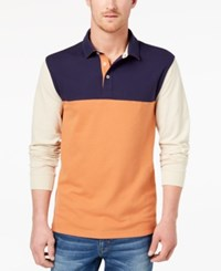 Club Room Men's Colorblocked Polo Created For Macy's Navy Blue