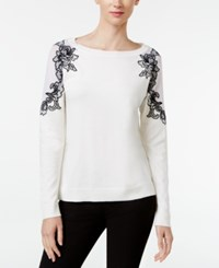 Inc International Concepts Petite Lace Trim Sweater Only At Macy's Washed White