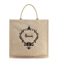 Harrods Embroidered Jute Grocery Shopper Bag Brown