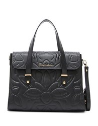 Braccialini Silvia Boston Suede And Saffiano Leather Satchel Bag Black