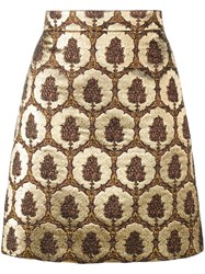 Gucci Jacquard Mini Skirt Brown