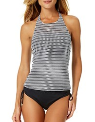 Anne Cole High Neck Crochet Tankini Black