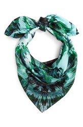 Vince Camuto Women's Cosmic Bloom Square Silk Scarf Pine Needle