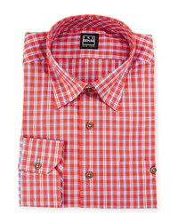 Ike Behar Plaid Dress Shirt Orange