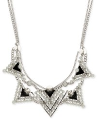 Givenchy Silver Tone Imitation Pearl Black Triangle Statement Necklace