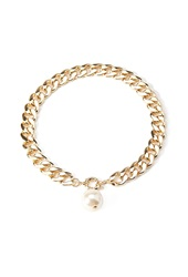 Forever 21 Disc Charm Necklace Cream Gold