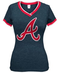5Th And Ocean Women's Atlanta Braves Triple Flock T Shirt Navy