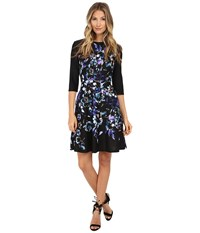 Donna Morgan 3 4 Sleeve Printed Scuba Fit And Flare Dress Bluebell Multi Women's Dress