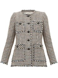 Rebecca Taylor Houndstooth Tweed Cotton Blend Jacket Pink Multi