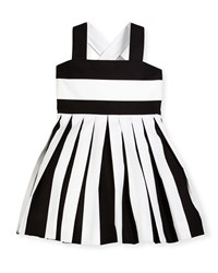 Helena Striped Pleated Cross Back Sundress Black White