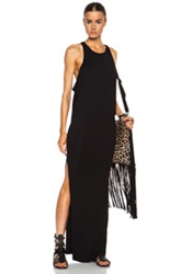 Mikoh High Neck Maxi Viscose Blend Dress With Side Slit In Black