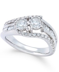 Macy's Diamond Two Stone Twist Engagement Ring 1 Ct. T.W. In 14K White Gold