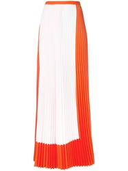 Haider Ackermann Pleated Maxi Skirt Women Polyester Spandex Elastane 38 Yellow Orange