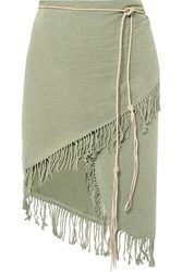 Caravana Tuzuk Leather Trimmed Fringed Cotton Gauze Pareo Sage Green