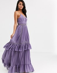 True Decadence Cami Strap Tiered Maxi Dress With Tie Front In Mauve Purple