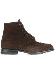 Church's Classic Lace Up Boots Men Leather Calf Suede Rubber 6 Brown