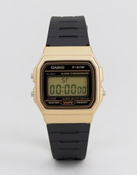 Casio Digital Silicone Strap Watch In Black Gold F91wm 9A Black