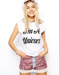 Your Eyes Lie Oversized Vest Top With Unicorn Print