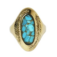 Stefanie Sheehan Jewelry Paradise Ring With Inlay Stoneyellow Brass 7 Turquoise
