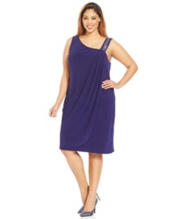 Betsy And Adam Plus Size Beaded One Shoulder Dress Midnight Blue