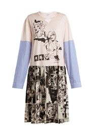 Prada Comic Print Cotton Jersey And Silk Dress Pink Multi