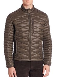 Saks Fifth Avenue Quilted Puffer Jacket Black Olive