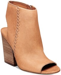 Steve Madden Women's Mingle Peep Toe Block Heel Booties Women's Shoes Tan Nubuck