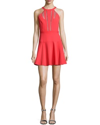 Bcbgmaxazria Halter Mesh Inset Fit And Flare Cocktail Dress
