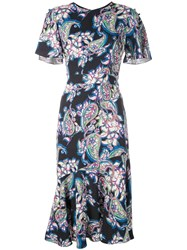 Prabal Gurung Victoria Printed Midi Dress Blue