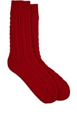 Corgi Men's Cable Knit Cashmere Bed Socks Red