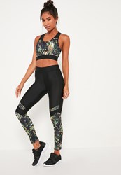 Missguided Active Black Tropical Print Full Length Sports Leggings