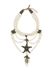 Alberta Ferretti Starfish Pendant Layered Necklace White