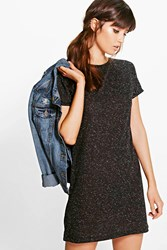 Boohoo Cap Sleeve T Shirt Dress Black