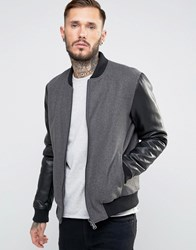 Only And Sons Wool Bomber With Faux Leather Sleeves Grey Black