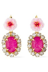 Elizabeth Cole Woman 24 Karat Gold Plated Resin And Crystal Earrings Pink