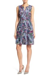 Women's Halogen Pleated Fit And Flare Dress Blue Grey Feathers Print