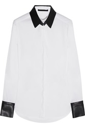 Karl Lagerfeld Emma Faux Leather Trimmed Cotton Blend Shirt White
