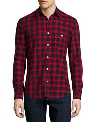 7 For All Mankind Brushed Flannel Long Sleeve Shirt Crimson