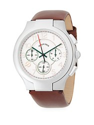 Philip Stein Teslar Classic Stainless Steel Chronograph Leather Strap Watch Chocolate
