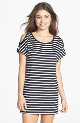 Michael Michael Kors Stripe Cold Shoulder Cover Up Tunic Black White Stripe