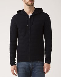 Ikks Navy Blue Zipped Hooded Cardigan