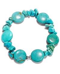 Macy's Manufactured Turquoise Chip Stretch Bracelet In Sterling Silver 65 Ct. T.W.