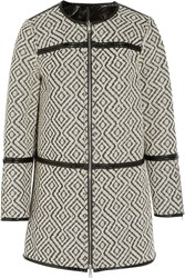Tory Burch Jade Reversible Jacquard And Patent Coat Black