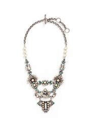 Miriam Haskell Glass Pearl Swarovski Crystal Turquoise Bead Statement Necklace Metallic