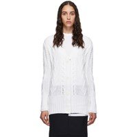 Thom Browne White Aran Cable Classic Cardigan